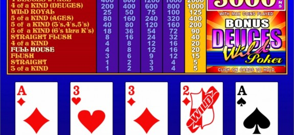 """Deuces Wild"" video poker"